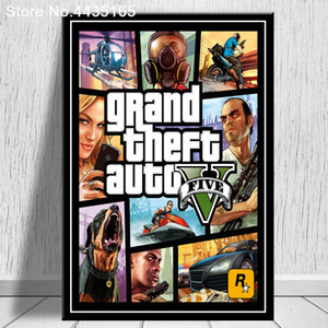 Wholesale Grand Theft Auto V Video Game GTA Art Poster Print Wall Art Canvas Painting for Living Room Home Decor Posters and Prints