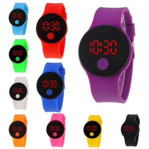 Wholesale steel jelly for sale - Group buy 10 Styles Silicone Single Button Round Watches Creative LED Stainless Steel Clasp Plastic Mirror Jelly Wristwatches Sport Watch