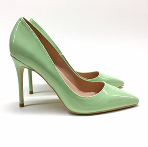 Wholesale Summer Spring New Classic Girl Tip Point Toe High heeled Thin heeled Shoes Pumps Green Patent Leather Stiletto Heel Dress Shoes For Women