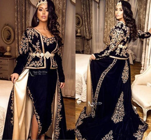 Navy Blue Kaftan Caftan Evening Formal Dresses with Overskirt 2020 Long Sleeve Gold Lace Applique peplum arabic Prom Gowns on Sale