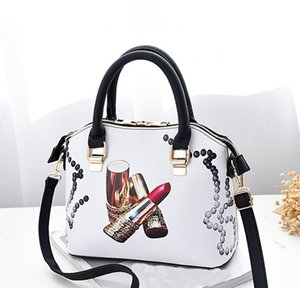 New Design Korean Version of sweet Lipstick Pattern PU Leather Handbag Bags Ladies Fashion Shoulder Bags Purses for Womens