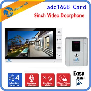 Wholesale 9 quot LCD Wired Video Door Phone Visual Video Intercom Speakerphone Outdoor IR Camera Recording Intercom System Free G Card