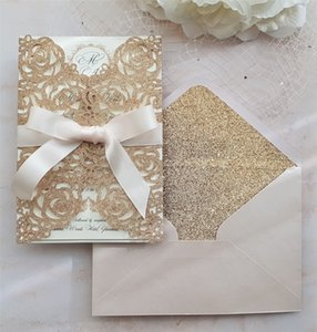 Rose Gold Glitter Laser Cut Wedding Invitation with Bow and Glittery Envelope, Laser Cut Invites for Wedding Party Graduation