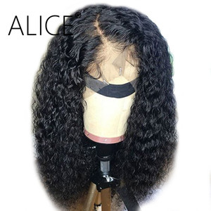Wholesale Alice Curly Human Hair Wigs With Baby Hair Remy Glueless Lace Front Human Hair Wigs Pre Plucked Brazilian Lace Front Wigs Y190713