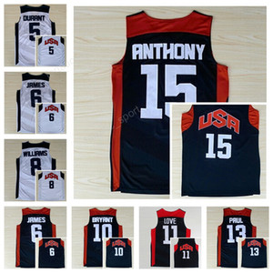 Wholesale 2012 Dream Team Ten Usa Basketball Jerseys 11 Kevin Love 5 Kevin Durant 13 Chris Paul 6 Lebron James 8 Deron Williams 15 Carmelo Anthony