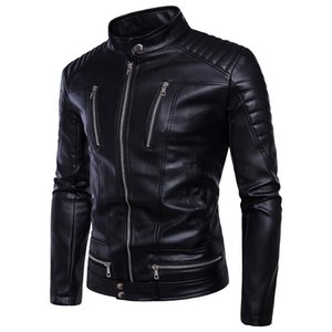 Autumn and Winter Men's New European and American Fashion New Trend Locomotive Zipper Leather Jacket Warm Casual Leather Jacket on Sale