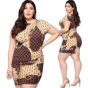 Wholesale Summer Gold chain print dress Plus size dress sexy Tight skirt Women Summer Short Sleeves Round neck print Dresses