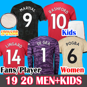 Fans Player FC Manchester Soccer Jersey 19 20 POGBA LINGARD RASHFORD Maguire Man kids Women 2019 2020 Football Shirt United UTD Uniforms Kit