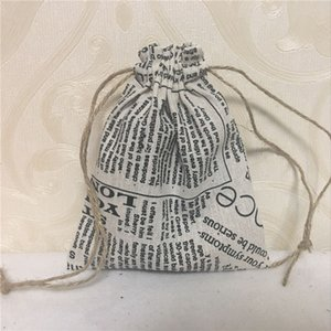 Wholesale YILE Handmade Cotton Linen Drawstring Multi purpose Gift Bag English Newspaper H