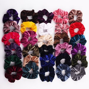 30Colors Women Girls Winter Hot Sale Velvet ribbon Cloth Elastic Ring Hair Ties Accessories Ponytail Holder Hairbands Rubber Band Scrunchies