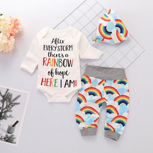 Wholesale newborn boys outfits resale online - Baby Boy Clothes Set Infant Baby Girls Boys Letter Print Romper Jumpsuit Rainbow Pants Hats Summer Outfits Newborn Clothes