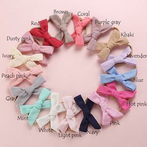 Wholesale 17 Hand Tied Linen Hair Bow Nylon Headband Or Hair Clips Spring Fabric Bow Headbands Baby Shower Gift SH190713