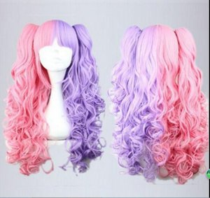 Wholesale WIG shipping High Quality Beautiful Fashion Style Two Pigtails Color Japanese Anime wig