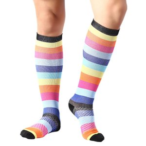 Wholesale New men s and women s fitness running compression socks sports football socks rainbow models