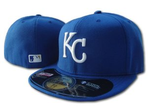 Wholesale One Piece Cheap All Team Fan s Royals Royal Blue Color Fitted Baseball Summer Hat On Field Mix Order Size Closed KC Flat Bill Base Ball Caps