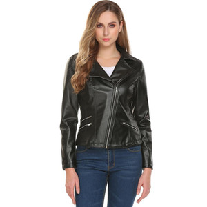 Wholesale leather zip for sale - Group buy Women Turn Down Collar Zip Up Short Slim Fit Motorcycle PU Leather Jacket Height cm Bust cm Waist m Hip cm