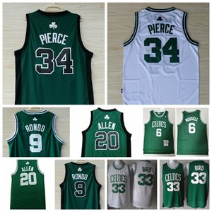 Wholesale Men BostonCeltics Kevin Garnett Ray Allen Paul Pierce Larry Bird Rajon Rondo Basketball Jerseys Stitched Shirts Size S XXL