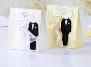 Wholesale Wedding Favor Candy Box Bride Groom Dress Tuxedo Creative Candy Box Gifts Favor Box Wedding Bonbonniere DIY Event Party Supplies