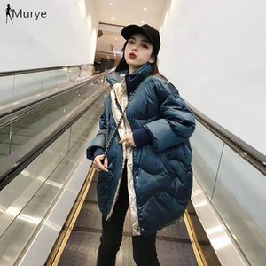 Wholesale 2019 New White Duck Down Peacock Blue Contrast Color Thread Sleeve Winter Winter Korean Long Down Jacket Loose Thick Jacket