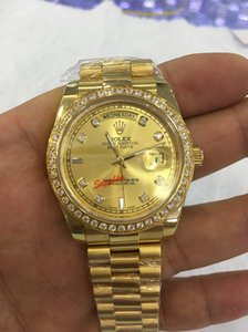 Wholesale New Quality Day Date President k Yellow Gold Watch w Gold Diamond Dial Bezel Men s Sport Wrist Watches Automatic Mens Watch