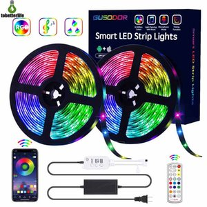 kit de cambio de color de luz led al por mayor-Bluetooth LED luces de tiras RGB Strip Light Kit FT FT LED SMD5050 MUSICA A prueba de agua Sincronización de la música Cambiando el controlador Bluetooth