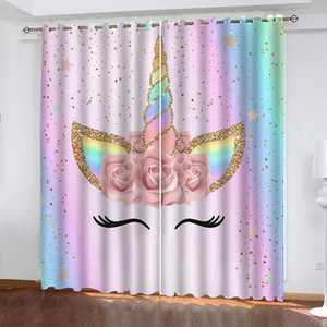 Wholesale IBedding Rainbow Unicorn Flower Spot Living Room Curtain Waterproof Curtain POD Polyester Decor