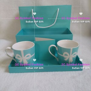 New fashion blue Ti cup set of 2 cup with gift box, bow cup, coffee cup, suitable for office or family party gifts