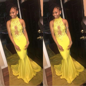 200 Cheap Halter Neck Yellow Prom Dress Sleeveless Elastic Satin Long Mermaid Plus Size Evening Party Gowns With Lace Appliques on Sale