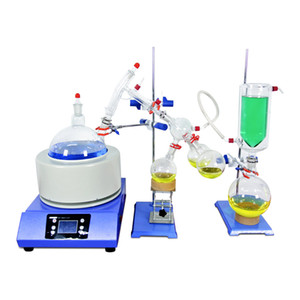 ZOIBKD Lab Equipment 2000mL 2L Short Path Distillation Kit 110V 220V with Digital Thermometer  Heating Mantle Cold trap
