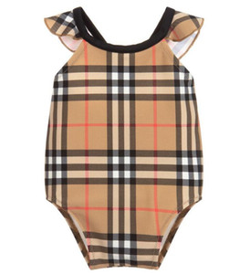 Wholesale new best selling high end one piece baby girls jumpsuits Classic lattice swimwear girl swimsuit kids beach clothing
