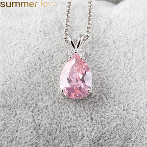 Wholesale New Fashion Style Synthetic Zircon Teardrop Necklace Silver Color Jewelry Purple Pink Green Austrian Crystal Pendant Necklace Women Gifts