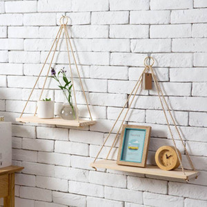 Wholesale floating wood shelf resale online - Nordic Style Solid Wood Rope Hanging Wall Shelf Vintage Floating Storage Rack Home Decor Bedroom Living Room Kitchen Office Wall Ornaments