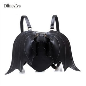 DIINOVIVO New Fashion Punk Style School Bag Women Bat Wing Lace Backpack Angel Wings Cute Little Devil Girls Bagpack WHDV0140 #252339