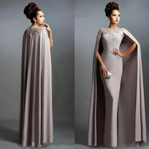 Wholesale Vintage Evening Dresses with Long Cape Lace Mother of the Bride Formal Party Plus Size Prom Formal Party Gowns