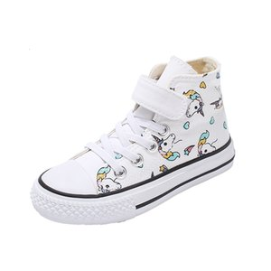 Wholesale 2019 Girls Unicorn Boots Rainbow Vulcanized Canvas Boots Big Girls and Boys Sneakers Winter Ankle Boots Hook & Loop Shoes 25-38 T191015