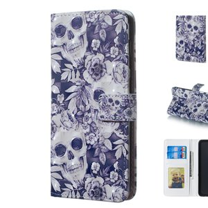 Wholesale Cool D Three Dimensional Skull Pattern Design Mobile Phone Wallet Case Cover Made of PU Leather