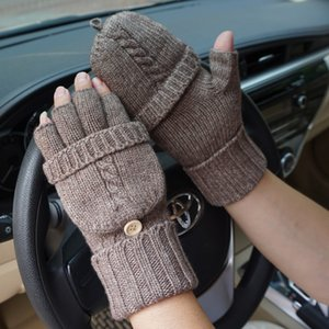 Wholesale Men Fingerless Gloves Wool Gloves Winter Outdoor Driving Mitten Fashion Male Knitted Thick Warm Flip Half Finger Workout