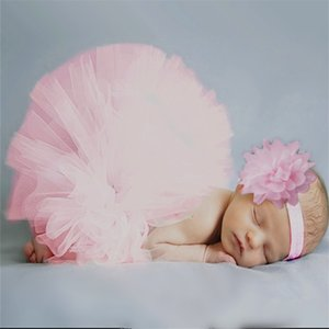 Wholesale Baby Dress Pink Newborn Tutu Clothes Voile Baby Girls Dress Headband Knitted Crochet Photo Prop Outfits