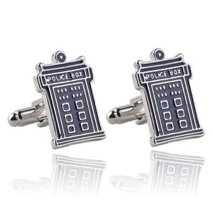 2016 DW Doctor Who Tardis Police Box Cufflink Cuff Links for men shirts dress suit Cuff links fashion jewelry Christmas gift