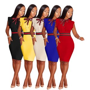 Wholesale Women Sexy Bodycon Dress Summer Black Sleeveless Short Casual Office Ladies Dress Red Striped Bow Yellow Plus Size Vestidos