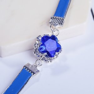 Wholesale Romantic Flower Charm Bracelets Leather Crystal Band Austrian Crystal Colors Bracelet Bangle Jewelry for Women