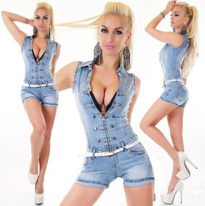 2019 new sports the best quality Sexy Women's Denim Light Blue Jeans Hot Pants Playsuit Jumpsuit Overall wear