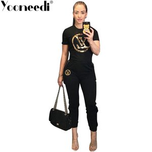 Wholesale Yooneedi Summer New Arrival Casual Piece Women Set Color Solid Sequins O neck Short Sleeve Tops Long Pants Trs Y19042901