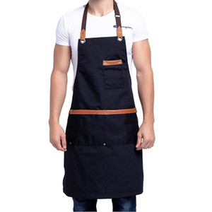Wholesale Cooking Canvas Kitchen Apron for Woman Men Chef Cafe Shop BBQ Aprons Baking Restaurant Pinafore Bib