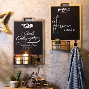Wholesale blackboard hang for sale - Group buy Retro Innovative Wall Decoration Blackboard Storage Hanging Message Board Tea Shop Coffee Shop Restaurant Wall Mount Decoration T200320