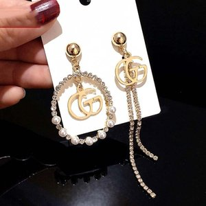 Wholesale Famous Letter Designer Earrings Rhinestone Tassel Earring Fashion Hoop Earrings Noble Pearl Women Earrings Luxury Jewelry Hot Sale