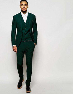 Wholesale Latest Design Dark Green Groom Tuxedos Groomsmen Custom Made Best Man Suits Mens Wedding Party Suits Jacket Pants Vest