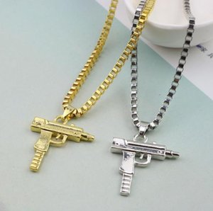 Wholesale Fast shipping New Uzi Gold Chain Hip Hop Long Pendant Necklace Men Women Fashion Brand Gun Shape Pistol Pendant Maxi Necklace HIPHOP Jewelry