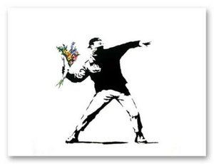 Wholesale banksy canvas art for sale - Group buy BANKSY FLOWER THROWER chucker Graffiti Art Home Decor Handpainted HD Print Oil Painting On Canvas Wall Art Canvas Pictures