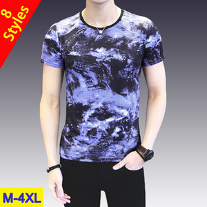 Hot Sale T-Shirs Men Summer Male T shirts Ice Silk Fashion Print Short Sleeve Top Tee Man Keep Cool 2019 New Style Plus Size 4XL